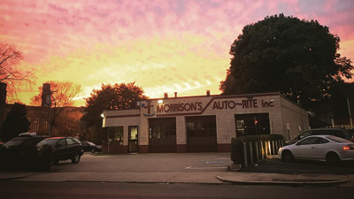 Sunset over shop